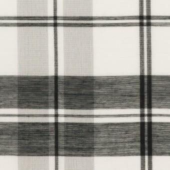 コットン&シルク×チェック(ホワイト&ブラック)×オーガンジー