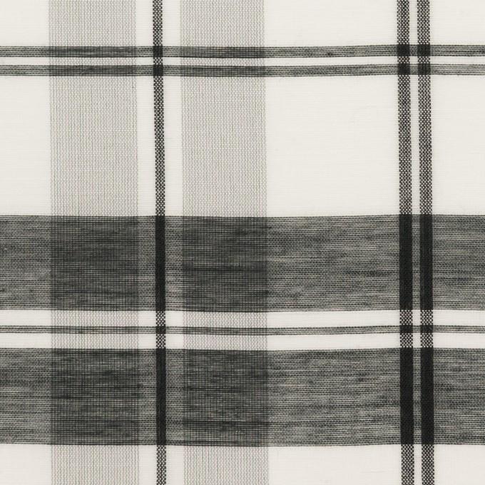 コットン&シルク×チェック(ホワイト&ブラック)×オーガンジー イメージ1