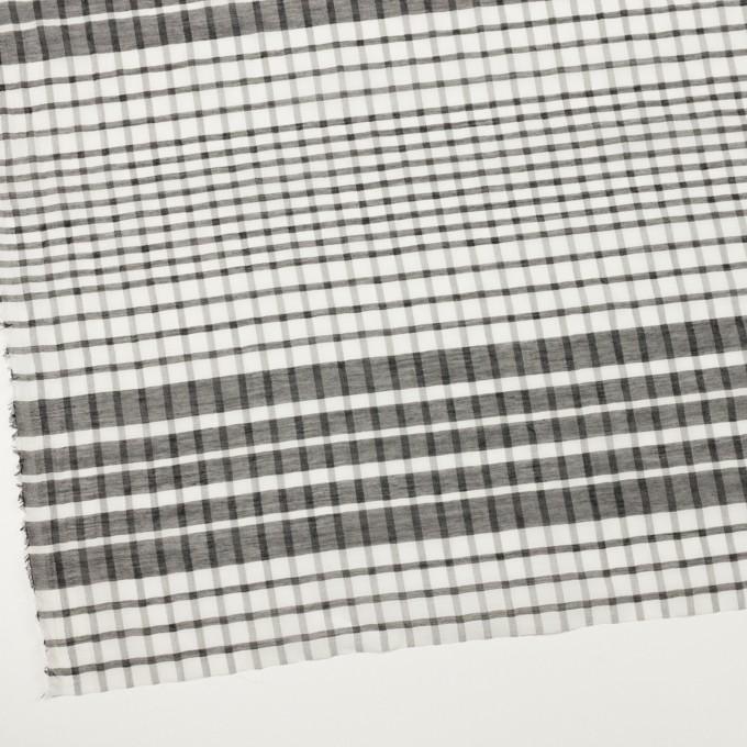 コットン&シルク×チェック(オフホワイト&ブラック)×オーガンジー イメージ2