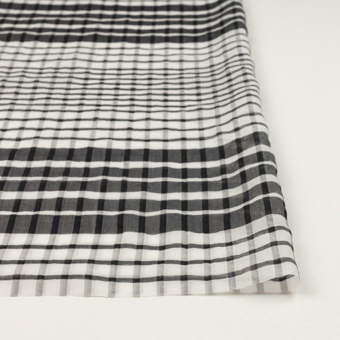 コットン&シルク×チェック(オフホワイト&ブラック)×オーガンジー イメージ3