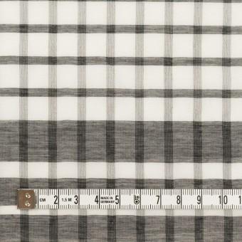 コットン&シルク×チェック(オフホワイト&ブラック)×オーガンジー サムネイル4