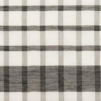 コットン&シルク×チェック(オフホワイト&ブラック)×オーガンジー