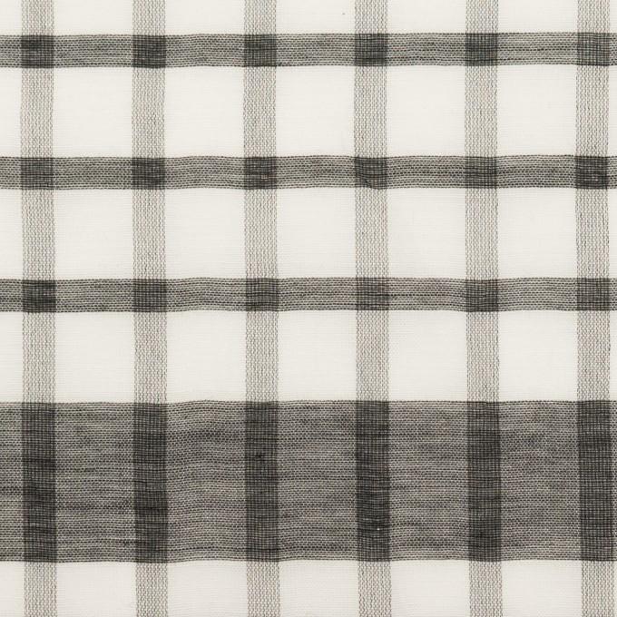 コットン&シルク×チェック(オフホワイト&ブラック)×オーガンジー イメージ1