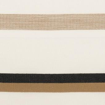 コットン×ボーダー(ホワイト&モカ)×ローンジャガード_全2色 サムネイル1