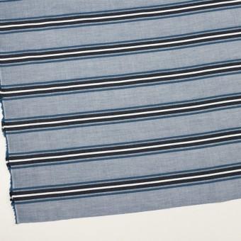 コットン×ボーダー(ブルー&チャコール)×ローンジャガード_全2色 サムネイル2