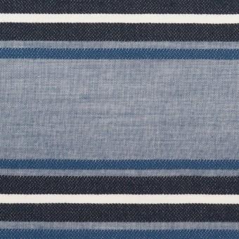 コットン×ボーダー(ブルー&チャコール)×ローンジャガード_全2色