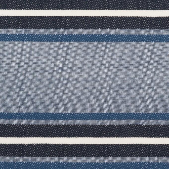 コットン×ボーダー(ブルー&チャコール)×ローンジャガード_全2色 イメージ1