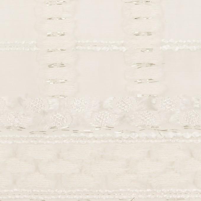 コットン&ナイロン混×ボーダー(ミルク)×ジョーゼット・カットジャガード イメージ1
