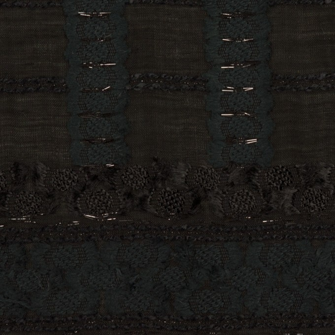 コットン&ナイロン混×ボーダー(ブラック)×ジョーゼット・カットジャガード イメージ1