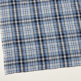 コットン×チェック(ブルー&ネイビー)×ローンジャガード_全2色 サムネイル2