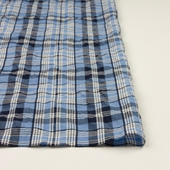 コットン×チェック(ブルー&ネイビー)×ローンジャガード_全2色 サムネイル3