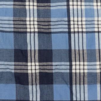 コットン×チェック(ブルー&ネイビー)×ローンジャガード_全2色