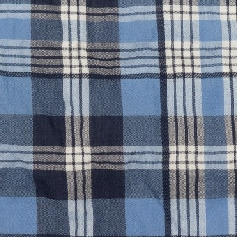 【150cmカット】コットン×チェック(ブルー&ネイビー)×ローンジャガード_全2色