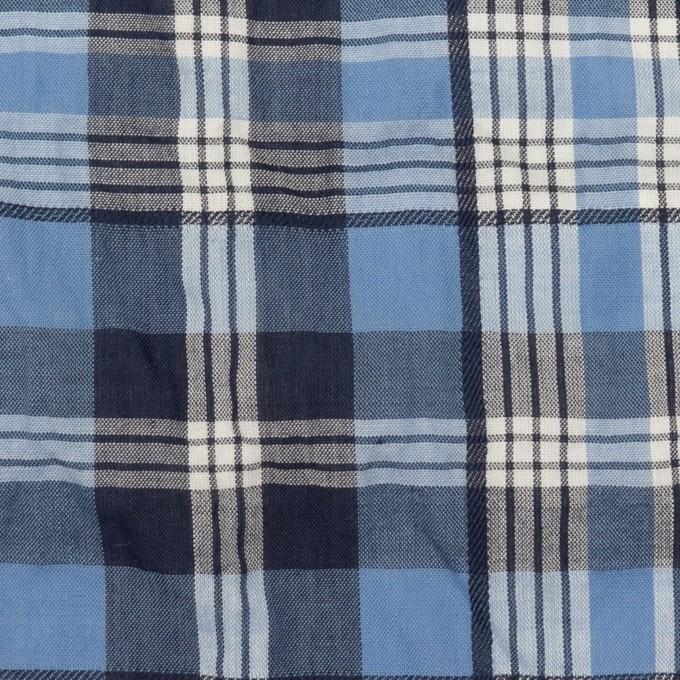 コットン×チェック(ブルー&ネイビー)×ローンジャガード_全2色 イメージ1