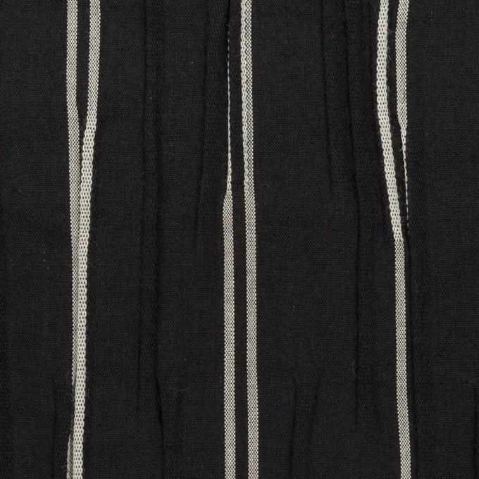 コットン&ポリエステル混×ストライプ(ブラック&ライトグレー)×タテタック_全2色 イメージ1
