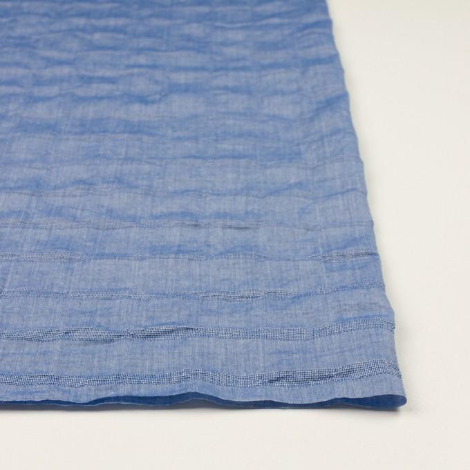 コットン&ポリウレタン×ボーダー(ブルー)×ボイルジャガード・シャーリング イメージ3