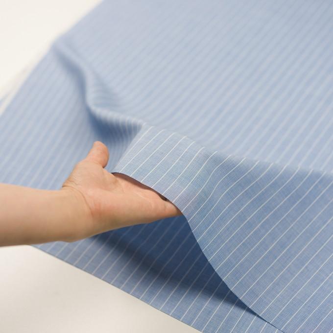 コットン&ポリエステル×ストライプ(ブルー)×二重織 イメージ5