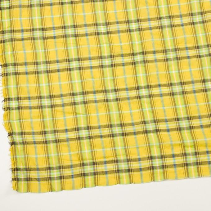 コットン&ポリウレタン×チェック(イエロー&ブラウン)×ボイルシャーリング イメージ2