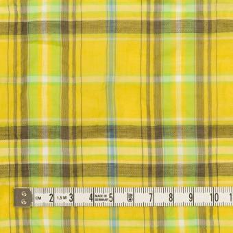 コットン&ポリウレタン×チェック(イエロー&ブラウン)×ボイルシャーリング サムネイル4