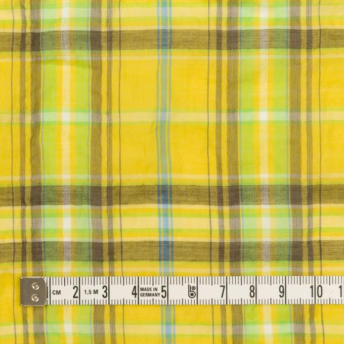 コットン&ポリウレタン×チェック(イエロー&ブラウン)×ボイルシャーリング イメージ4