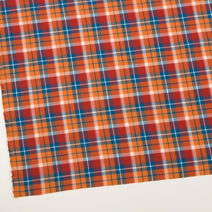 コットン&ポリエステル×チェック(オレンジ、トマト&ゼニスブルー)×ヘリンボーン イメージ2
