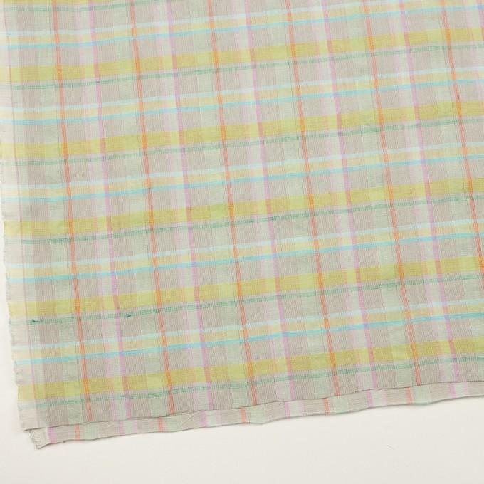 コットン&リネン×チェック(アッシュグレー、イエロー&ピンク)×キャンバス イメージ2