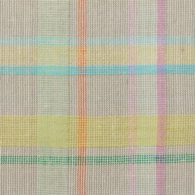 コットン&リネン×チェック(アッシュグレー、イエロー&ピンク)×キャンバス イメージ1