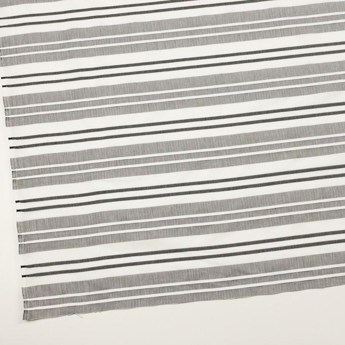 コットン×ボーダー(ホワイト、グレー&チャコール)×ピンタック イメージ2