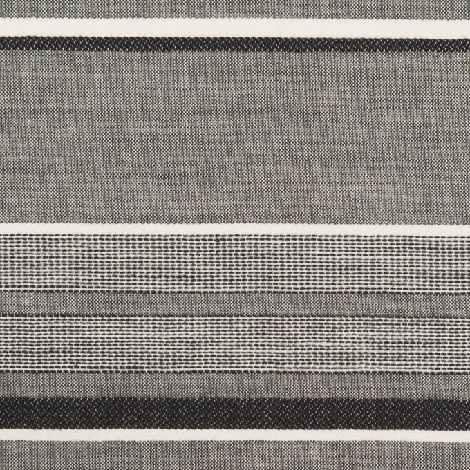 コットン×ボーダー(チャコールグレー&チャコール)×ローンジャガード イメージ1