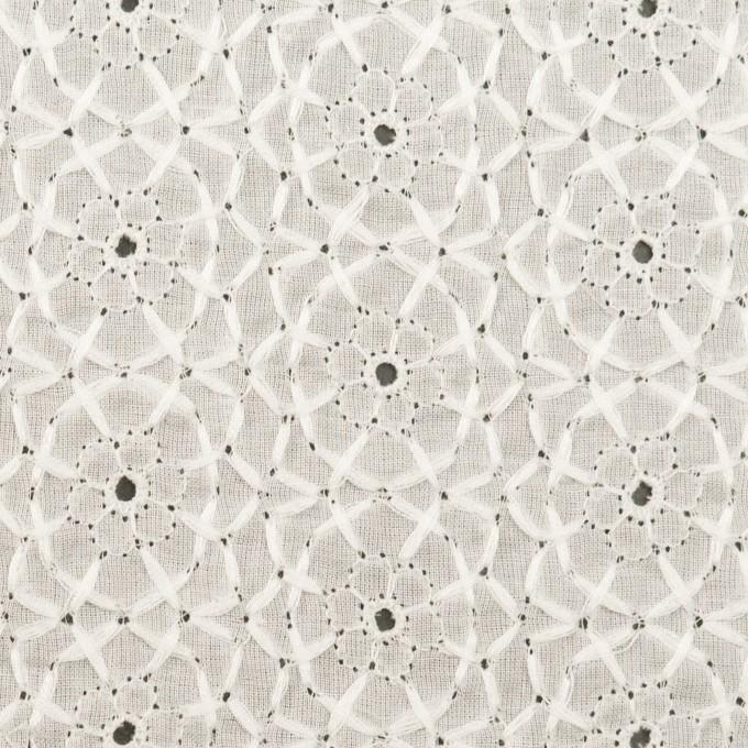 コットン×フラワー(ホワイト)×ローン刺繍 イメージ1