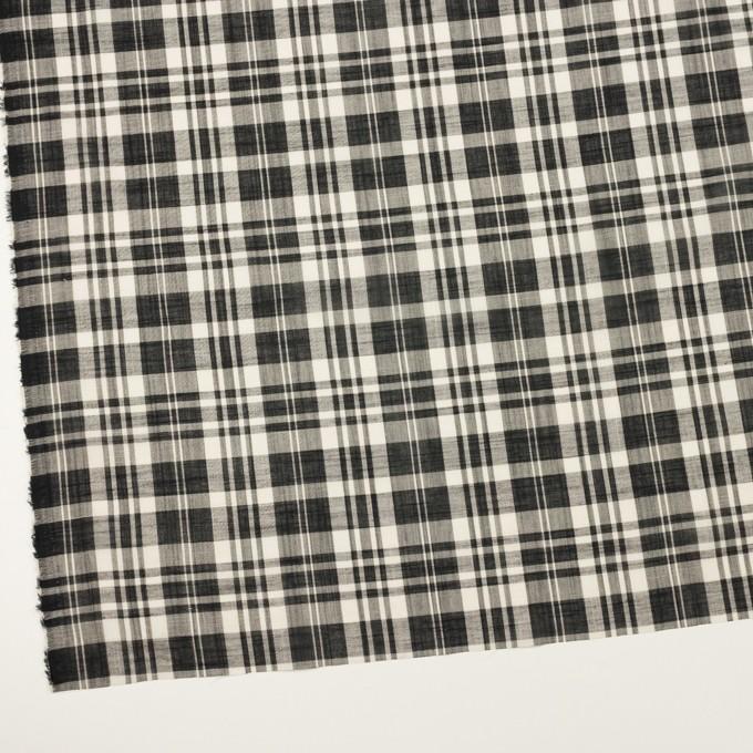コットン&リネン×チェック(ブラック&ミルク)×スラブボイル イメージ2