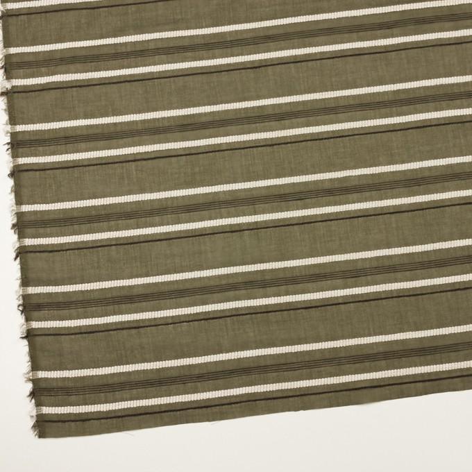 コットン&レーヨン×ボーダー(カーキグリーン、エクリュ&カーキブラウン)×ボイルジャガード イメージ2