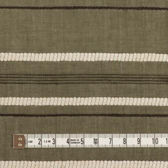 コットン&レーヨン×ボーダー(カーキグリーン、エクリュ&カーキブラウン)×ボイルジャガード サムネイル4