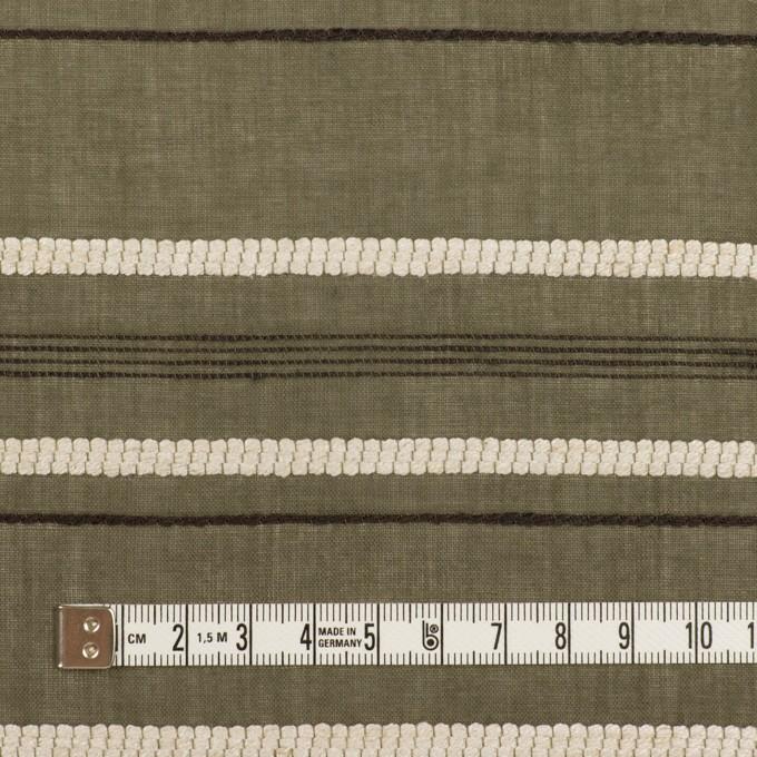 コットン&レーヨン×ボーダー(カーキグリーン、エクリュ&カーキブラウン)×ボイルジャガード イメージ4
