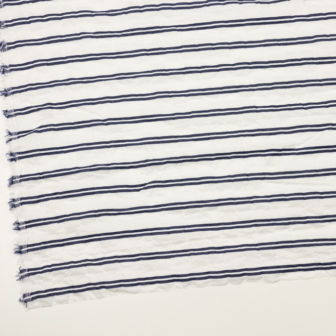 コットン&ポリウレタン×ボーダー(ホワイト&ネイビー)×ボイルジャガード・シャーリング_全2色 イメージ2