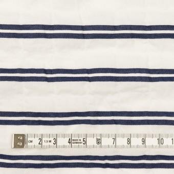 コットン&ポリウレタン×ボーダー(ホワイト&ネイビー)×ボイルジャガード・シャーリング_全2色 サムネイル4