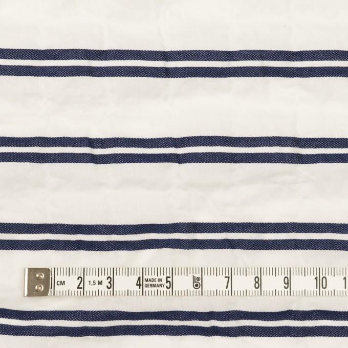 コットン&ポリウレタン×ボーダー(ホワイト&ネイビー)×ボイルジャガード・シャーリング_全2色 イメージ4