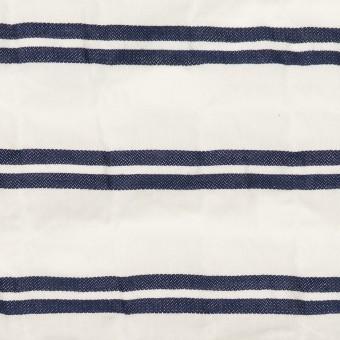 コットン&ポリウレタン×ボーダー(ホワイト&ネイビー)×ボイルジャガード・シャーリング_全2色