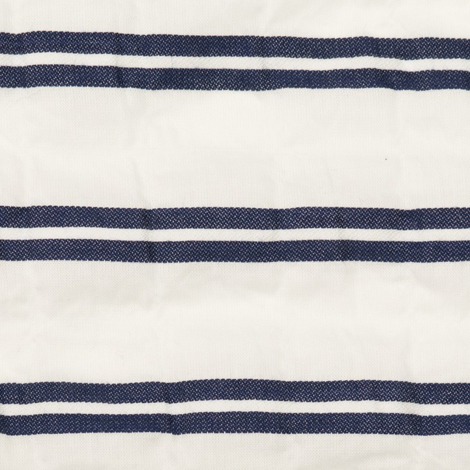 コットン&ポリウレタン×ボーダー(ホワイト&ネイビー)×ボイルジャガード・シャーリング_全2色 イメージ1