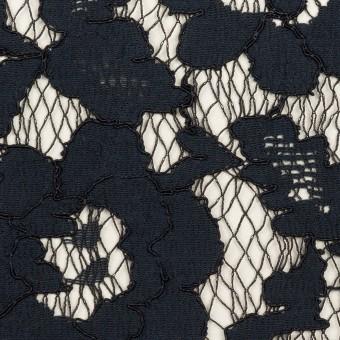 コットン&レーヨン混×フラワー(ダークネイビー)×ラッセルレース サムネイル1