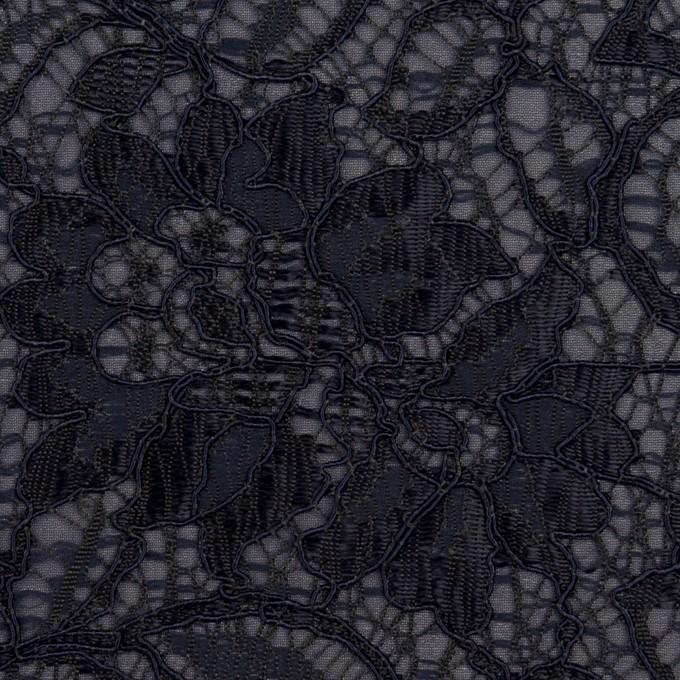 ポリエステル&レーヨン混×フラワー(ネイビー)×ラッセルレース&ジョーゼット イメージ1