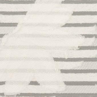ナイロン&レーヨン混×フラワー&ボーダー(ミルク)×オーガンジー・カットジャガード_全2色