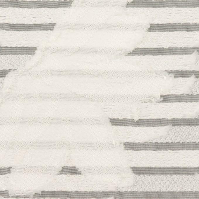 ナイロン&レーヨン混×フラワー&ボーダー(ミルク)×オーガンジー・カットジャガード_全2色 イメージ1
