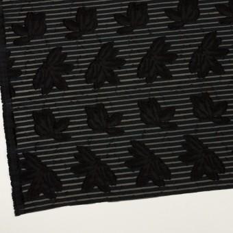 ナイロン&レーヨン混×フラワー&ボーダー(ブラック)×オーガンジー・カットジャガード_全2色 サムネイル2