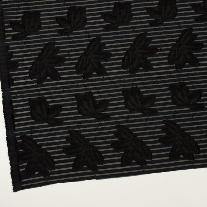 ナイロン&レーヨン混×フラワー&ボーダー(ブラック)×オーガンジー・カットジャガード_全2色 イメージ2