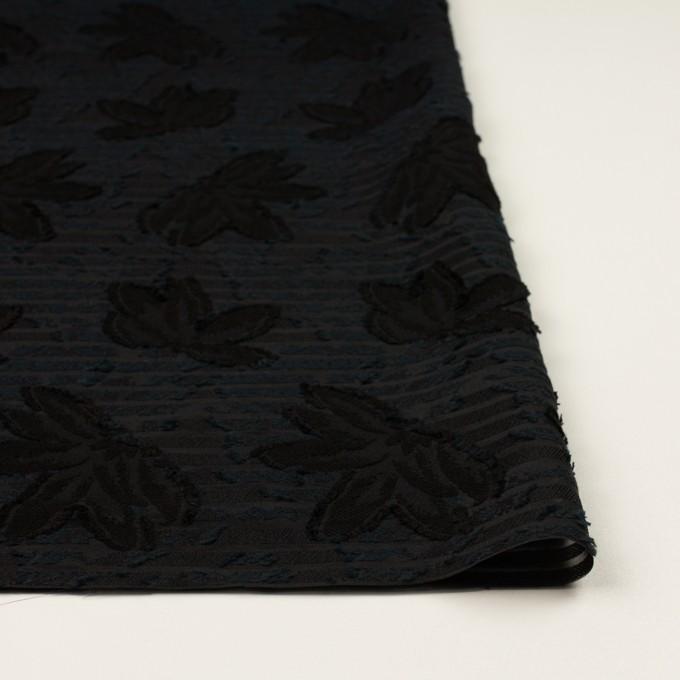 ナイロン&レーヨン混×フラワー&ボーダー(ブラック)×オーガンジー・カットジャガード_全2色 イメージ3