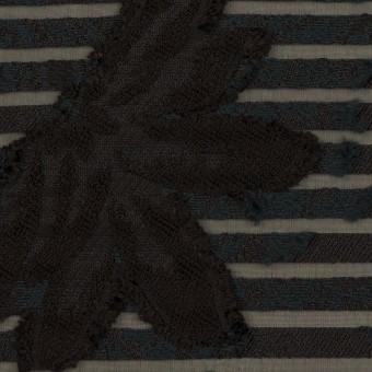 ナイロン&レーヨン混×フラワー&ボーダー(ブラック)×オーガンジー・カットジャガード_全2色