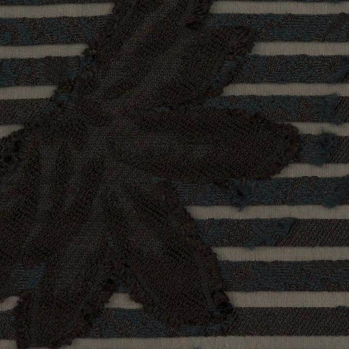 ナイロン&レーヨン混×フラワー&ボーダー(ブラック)×オーガンジー・カットジャガード_全2色 イメージ1