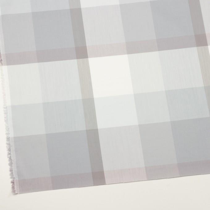 コットン&ポリエステル×チェック(グレー&グレイッシュパープル)×ブロード イメージ2