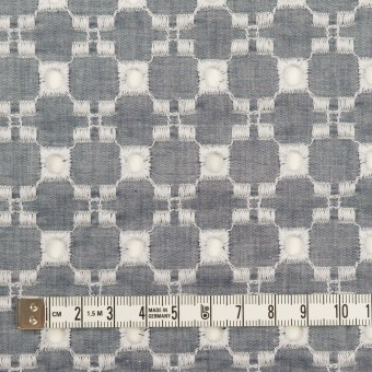コットン&テンセル×幾何学模様(アッシュネイビー)×ローン刺繍 サムネイル4